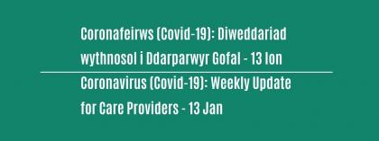 CORONAVIRUS (COVID-19): WEEKLY UPDATE FOR CARE PROVIDERS - Wednesday 13 January